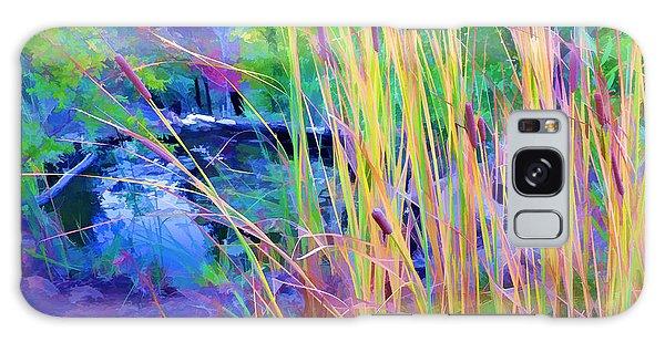 Garden With Koi Pond And Cattails Galaxy Case