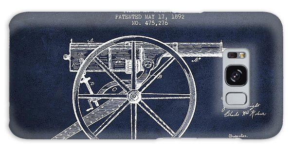Weapons Galaxy Case - Garland Machine Gun Patent Drawing From 1892 - Navy Blue by Aged Pixel