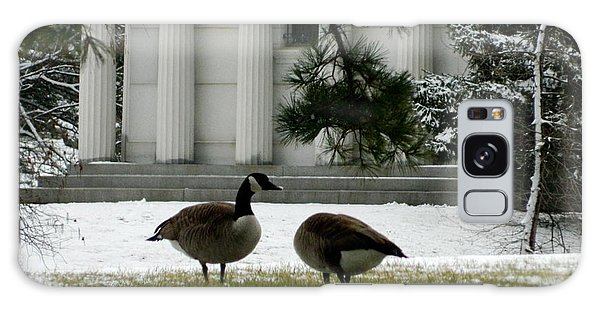 Geese In Snow Galaxy Case by Kathy Barney