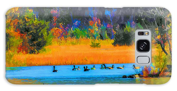 Geese On The Lake Galaxy Case