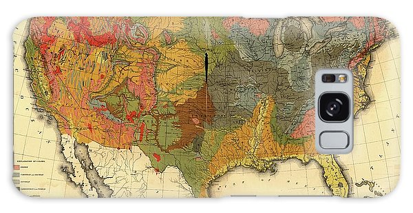 Usa Map Galaxy Case - Geological Map Of The Usa by Library Of Congress, Geography And Map Division/science Photo Library