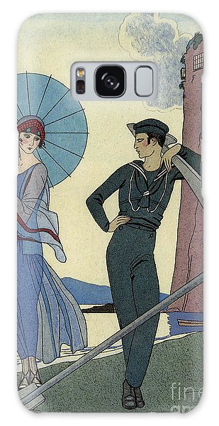Fashion Plate Galaxy Case - George Barbier Romance Sans Paroles 1922 Sailor Woos Lady On Shore by Pierpont Bay Archive