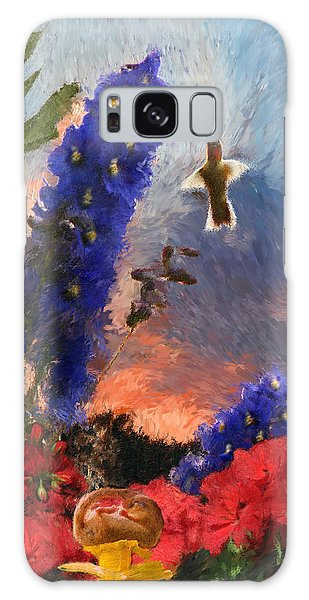 Geraniums Red And Delphiniums Blue Galaxy Case