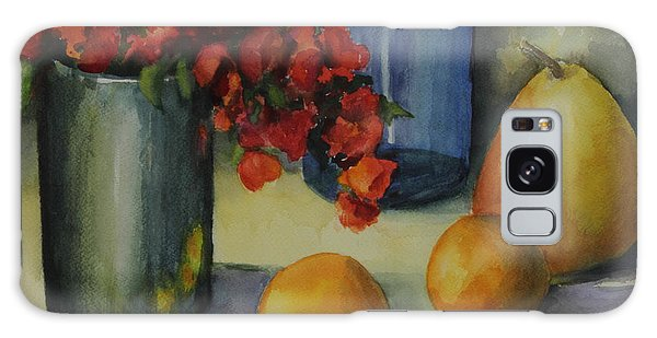 Vase Of Flowers Galaxy Case - Geraniums With Pear And Oranges by Maria Hunt