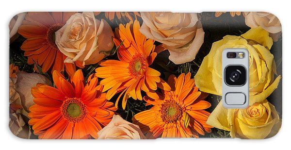 Gerber Daisy And Rose Background Galaxy Case