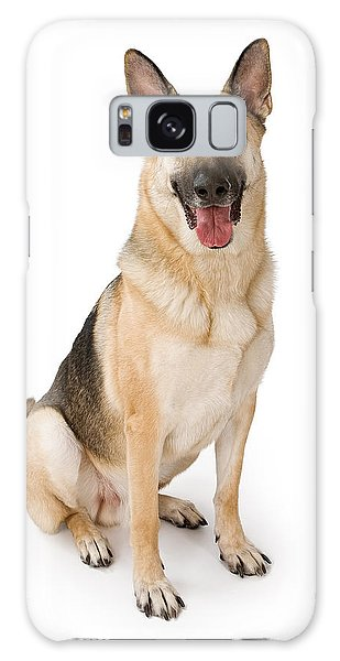 German Shepherd Dog Isolated On White Galaxy Case by Susan Schmitz