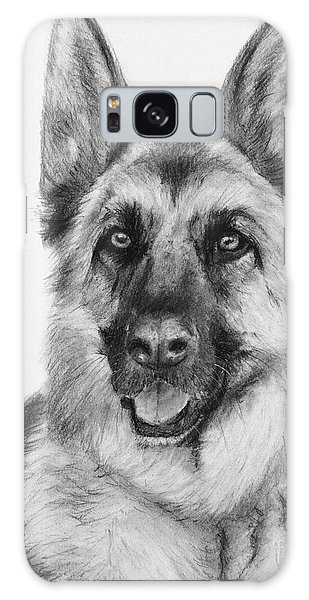 German Shepherd Drawn In Charcoal Galaxy Case