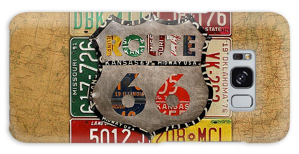 66 Galaxy Case - Get Your Kicks On Route 66 Vintage License Plate Art On Worn United States Highway Map by Design Turnpike