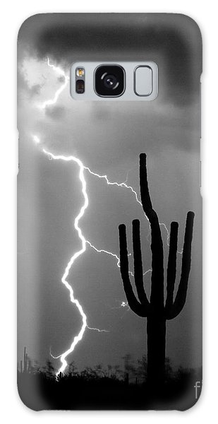 Giant Saguaro Cactus Lightning Strike Bw Galaxy Case