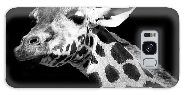 Giraffe Galaxy Case - Portrait Of Giraffe In Black And White by Lukas Holas
