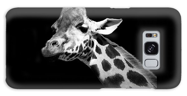 White Galaxy Case - Portrait Of Giraffe In Black And White by Lukas Holas
