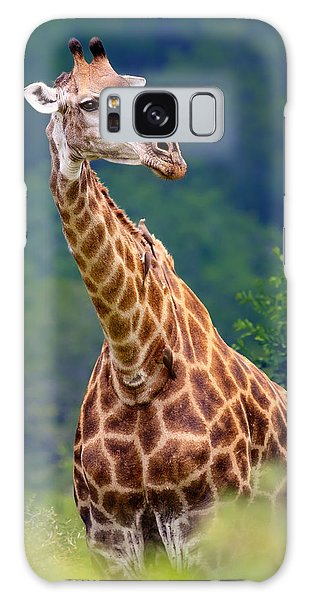 Foliage Galaxy Case - Giraffe Portrait Closeup by Johan Swanepoel