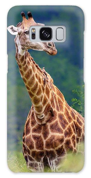 Foliage Galaxy Case - Giraffe Portrait Closeup by Johan Swanepoel