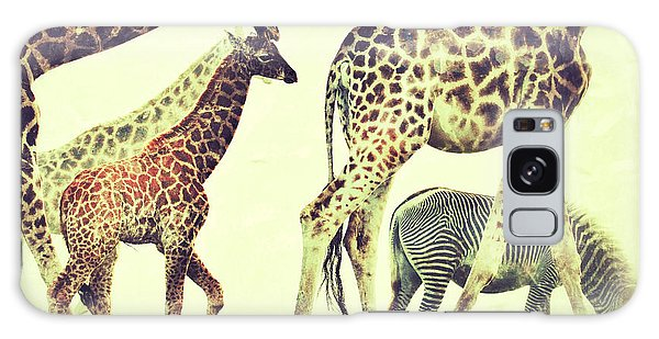 Giraffes And A Zebra In The Mist Galaxy Case by Nick  Biemans