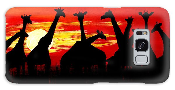 Giraffes Sunset Africa Serengeti Galaxy Case
