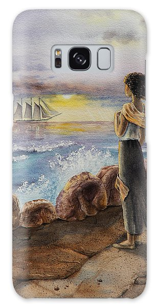 Galaxy Case featuring the painting Girl And The Ocean Sailing Ship by Irina Sztukowski