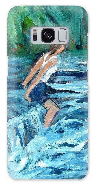 Girl Bathing In River Rapids Galaxy Case by Betty Pieper