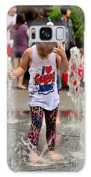 Girl Child Plays With Water At Fountain Singapore Galaxy Case