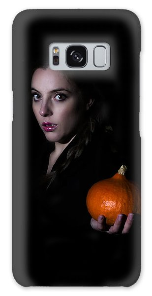 Girl Holding A Pumpkin In The Dark Galaxy Case