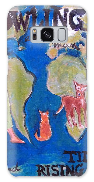 Girl Howling At The Moon And Rising Tides Galaxy Case by Betty Pieper