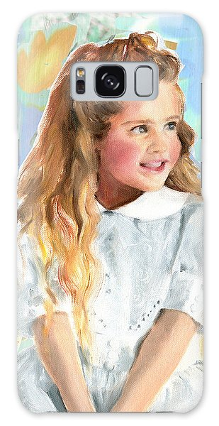 Girl In A White Lace Dress  Galaxy Case