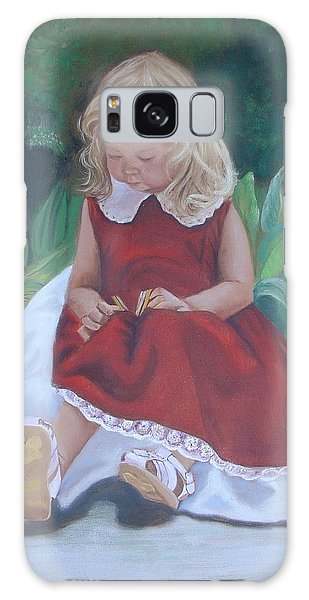 Girl In The Garden Galaxy Case by Sharon Schultz