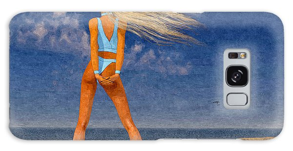 Girl On The Beach...watercolor Effected Galaxy Case