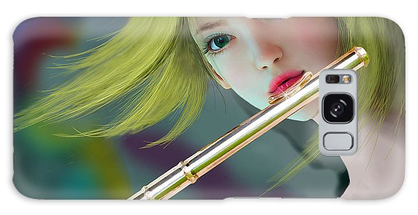 Girl Playing Flute 2 Galaxy Case