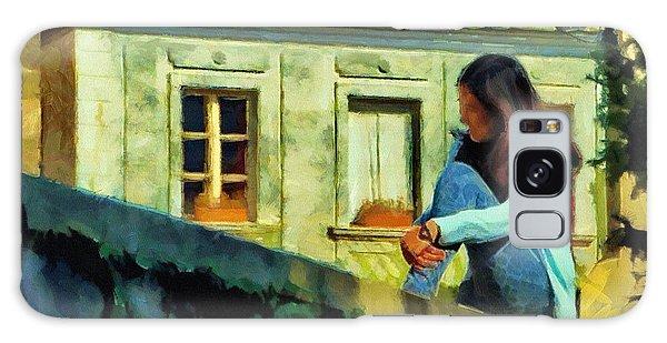 Girl Posing On Stone Wall Galaxy Case by Jeff Kolker
