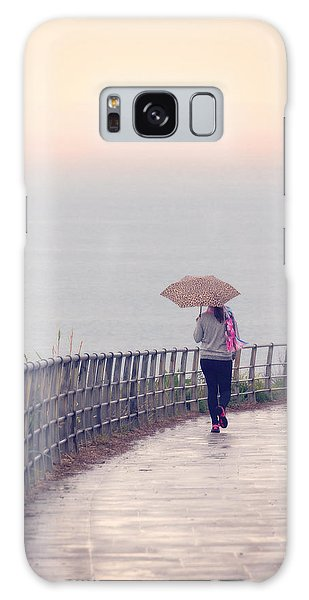Girl Walking With Umbrella Galaxy Case