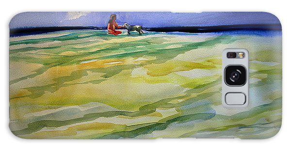 Girl With Dog On The Beach Galaxy Case