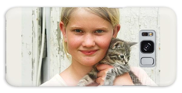 Girl With Kitten Galaxy Case