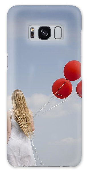 Girl With Red Balloons Galaxy Case
