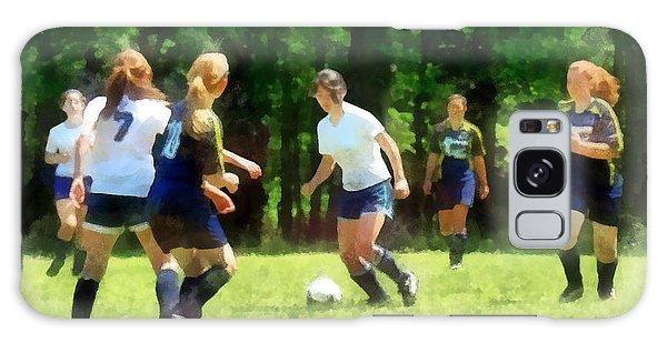 Girls Playing Soccer Galaxy Case by Susan Savad