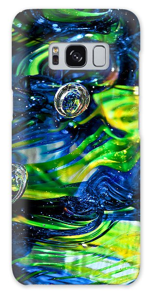 Glass Macro - Seahawks Blue And Green -13e4 Galaxy Case by David Patterson