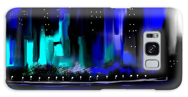 Glowing City In Blue And Aqua Galaxy Case