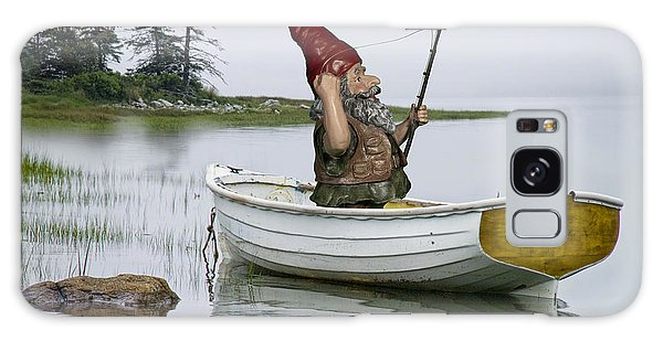 Gnome Fisherman In A White Maine Boat On A Foggy Morning Galaxy Case