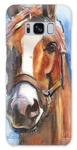Watercolor Pet Portraits Galaxy Case - Horse Painting Of California Chrome Go Chrome by Maria's Watercolor