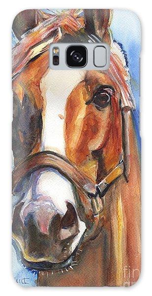 Chrome Galaxy Case - Horse Painting Of California Chrome Go Chrome by Maria Reichert