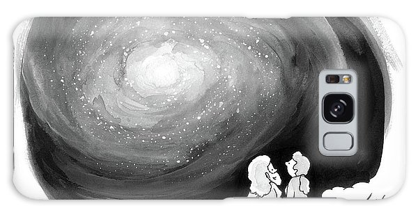 God Stands On A Cloud With His Wife Overlooking Galaxy Case