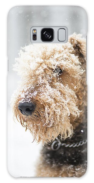 Dog's Portrait Under The Snow Galaxy Case