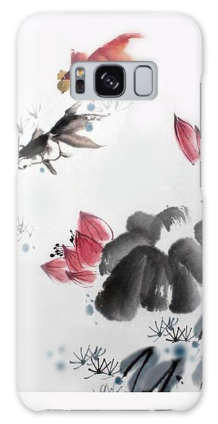 Gold Fish In Lotus Pond Galaxy Case