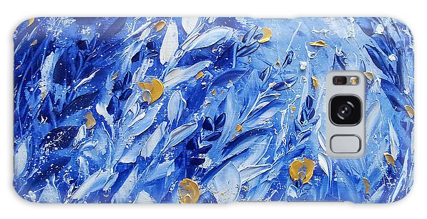 Gold Flowers On Blue Galaxy Case