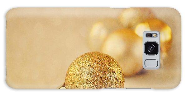 Gold Glittery Christmas Baubles Galaxy Case by Lyn Randle