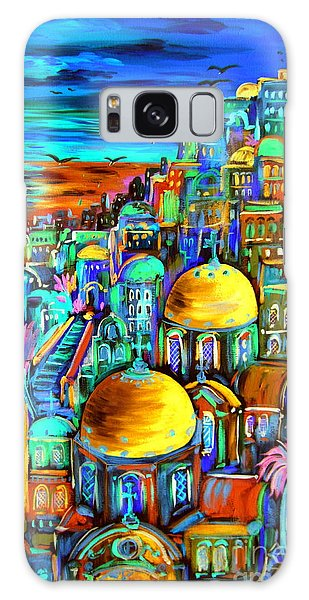 Gold On Santorini Churches Galaxy Case by Roberto Gagliardi