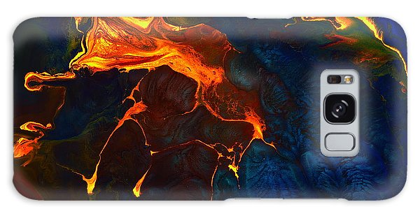 Gold Signature - Gold Orange Abstract Art By Kredart Galaxy Case