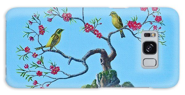 Golden Bush Robins In Old Plum Tree Galaxy Case by Anthony Lyon