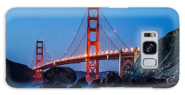 Golden Gate At Twilight Galaxy Case by Linda Villers