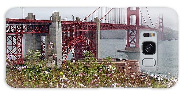 Golden Gate Bridge And Summer Flowers Galaxy Case