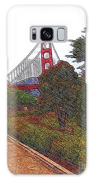 Golden Gate Bridge Crosshatch Galaxy Case